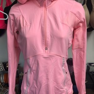 lululemon athletica Tops - Lululemon pink hooded pullover running top